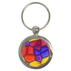 3d Colorful Shapes Key Chain (round) by LalyLauraFLM