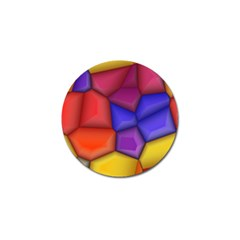 3d Colorful Shapes Golf Ball Marker by LalyLauraFLM
