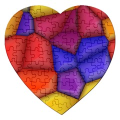 3d Colorful Shapes Jigsaw Puzzle (heart) by LalyLauraFLM