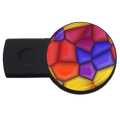 3d Colorful Shapes Usb Flash Drive Round (4 Gb) by LalyLauraFLM