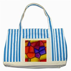 3d Colorful Shapes Striped Blue Tote Bag by LalyLauraFLM