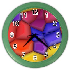 3d Colorful Shapes Color Wall Clock by LalyLauraFLM