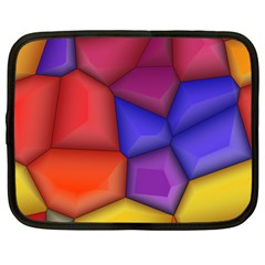 3d Colorful Shapes Netbook Case (large)	 by LalyLauraFLM