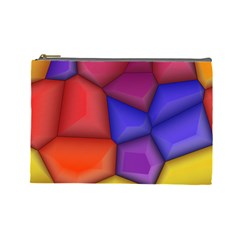 3d Colorful Shapes Cosmetic Bag (large) by LalyLauraFLM