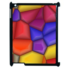 3d Colorful Shapes Apple Ipad 2 Case (black) by LalyLauraFLM