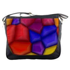 3d Colorful Shapes Messenger Bag by LalyLauraFLM
