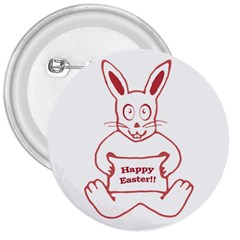 Cute Bunny With Banner Drawing 3  Button by dflcprints