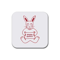 Cute Bunny With Banner Drawing Drink Coaster (square) by dflcprints