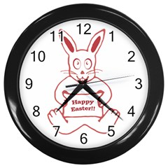 Cute Bunny With Banner Drawing Wall Clock (black) by dflcprints