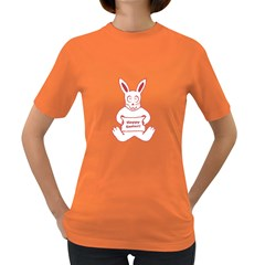 Cute Bunny With Banner Drawing Women s T-shirt (colored) by dflcprints