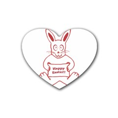 Cute Bunny With Banner Drawing Drink Coasters 4 Pack (heart)