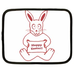 Cute Bunny With Banner Drawing Netbook Sleeve (large) by dflcprints