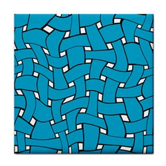 Blue Distorted Weave Tile Coaster by LalyLauraFLM