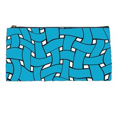 Blue Distorted Weave Pencil Case by LalyLauraFLM
