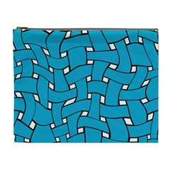 Blue Distorted Weave Cosmetic Bag (xl) by LalyLauraFLM