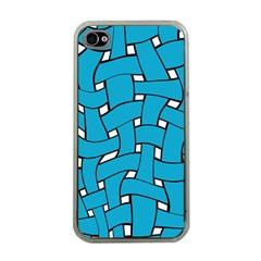 Blue Distorted Weave Apple Iphone 4 Case (clear) by LalyLauraFLM