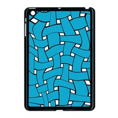Blue Distorted Weave Apple Ipad Mini Case (black) by LalyLauraFLM