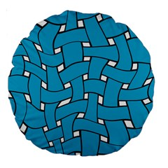 Blue Distorted Weave 18  Premium Round Cushion  by LalyLauraFLM