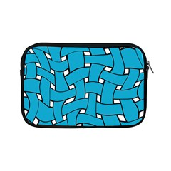 Blue Distorted Weave Apple Ipad Mini Zipper Case by LalyLauraFLM