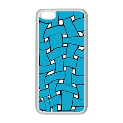 Blue Distorted Weave Apple Iphone 5c Seamless Case (white) by LalyLauraFLM