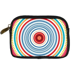 Colorful Round Kaleidoscope Digital Camera Leather Case by LalyLauraFLM