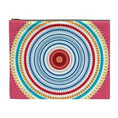 Colorful Round Kaleidoscope Cosmetic Bag (xl) by LalyLauraFLM
