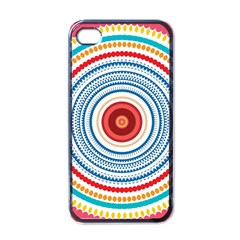 Colorful Round Kaleidoscope Apple Iphone 4 Case (black) by LalyLauraFLM