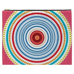 Colorful Round Kaleidoscope Cosmetic Bag (xxxl) by LalyLauraFLM