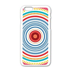 Colorful Round Kaleidoscope Apple Iphone 6 White Enamel Case by LalyLauraFLM
