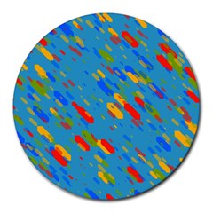 Colorful Shapes On A Blue Background Round Mousepad by LalyLauraFLM