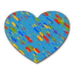 Colorful Shapes On A Blue Background Heart Mousepad by LalyLauraFLM