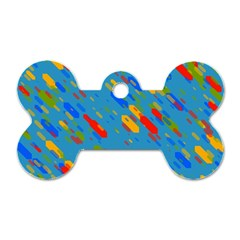 Colorful Shapes On A Blue Background Dog Tag Bone (one Side) by LalyLauraFLM