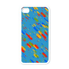 Colorful Shapes On A Blue Background Apple Iphone 4 Case (white) by LalyLauraFLM