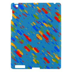 Colorful Shapes On A Blue Background Apple Ipad 3/4 Hardshell Case by LalyLauraFLM