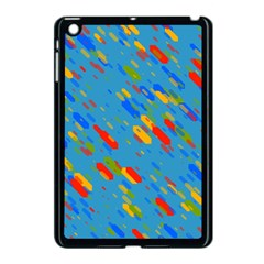 Colorful Shapes On A Blue Background Apple Ipad Mini Case (black) by LalyLauraFLM