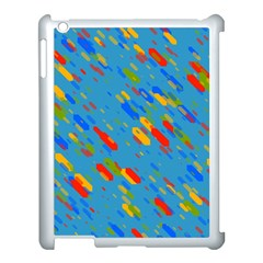Colorful Shapes On A Blue Background Apple Ipad 3/4 Case (white) by LalyLauraFLM