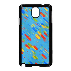 Colorful Shapes On A Blue Background Samsung Galaxy Note 3 Neo Hardshell Case (black) by LalyLauraFLM