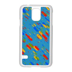 Colorful Shapes On A Blue Background Samsung Galaxy S5 Case (white) by LalyLauraFLM