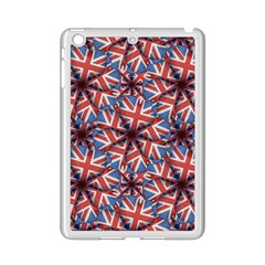 Heart Shaped England Flag Pattern Design Apple Ipad Mini 2 Case (white) by dflcprints