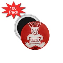 Cute Bunny Happy Easter Drawing Illustration Design 1 75  Button Magnet (100 Pack)