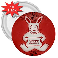 Cute Bunny Happy Easter Drawing Illustration Design 3  Button (10 Pack)
