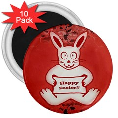 Cute Bunny Happy Easter Drawing Illustration Design 3  Button Magnet (10 Pack) by dflcprints