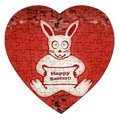 Cute Bunny Happy Easter Drawing Illustration Design Jigsaw Puzzle (heart) by dflcprints