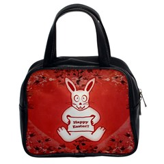 Cute Bunny Happy Easter Drawing Illustration Design Classic Handbag (two Sides) by dflcprints