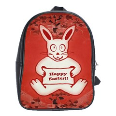 Cute Bunny Happy Easter Drawing Illustration Design School Bag (xl) by dflcprints