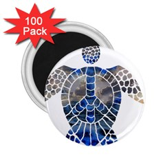Peace Turtle 2 25  Button Magnet (100 Pack) by oddzodd