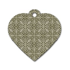Silver Intricate Arabesque Pattern Dog Tag Heart (one Sided)