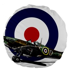 Spitfire And Roundel 18  Premium Round Cushion  by TheManCave