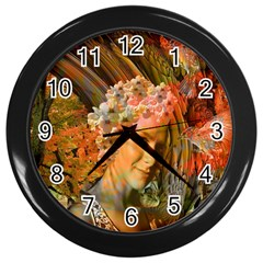 Autumn Wall Clock (black) by icarusismartdesigns