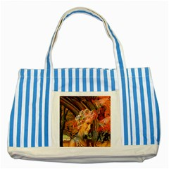 Autumn Blue Striped Tote Bag by icarusismartdesigns